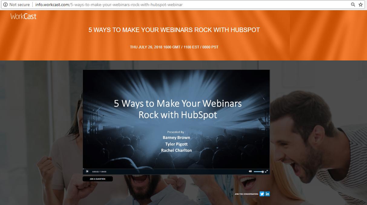 WorkCast on HubSpot screenshot