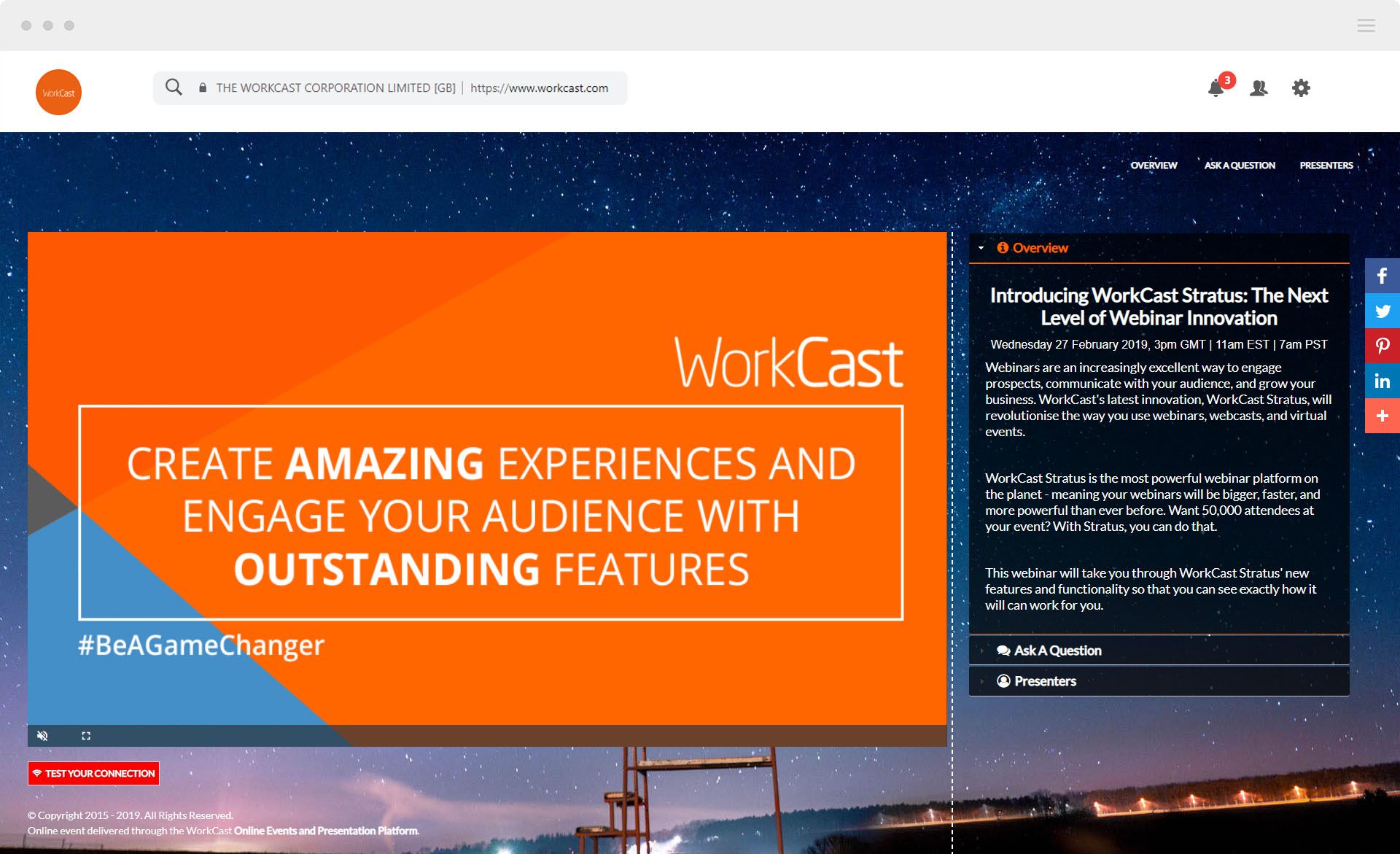 WorkCast managed event