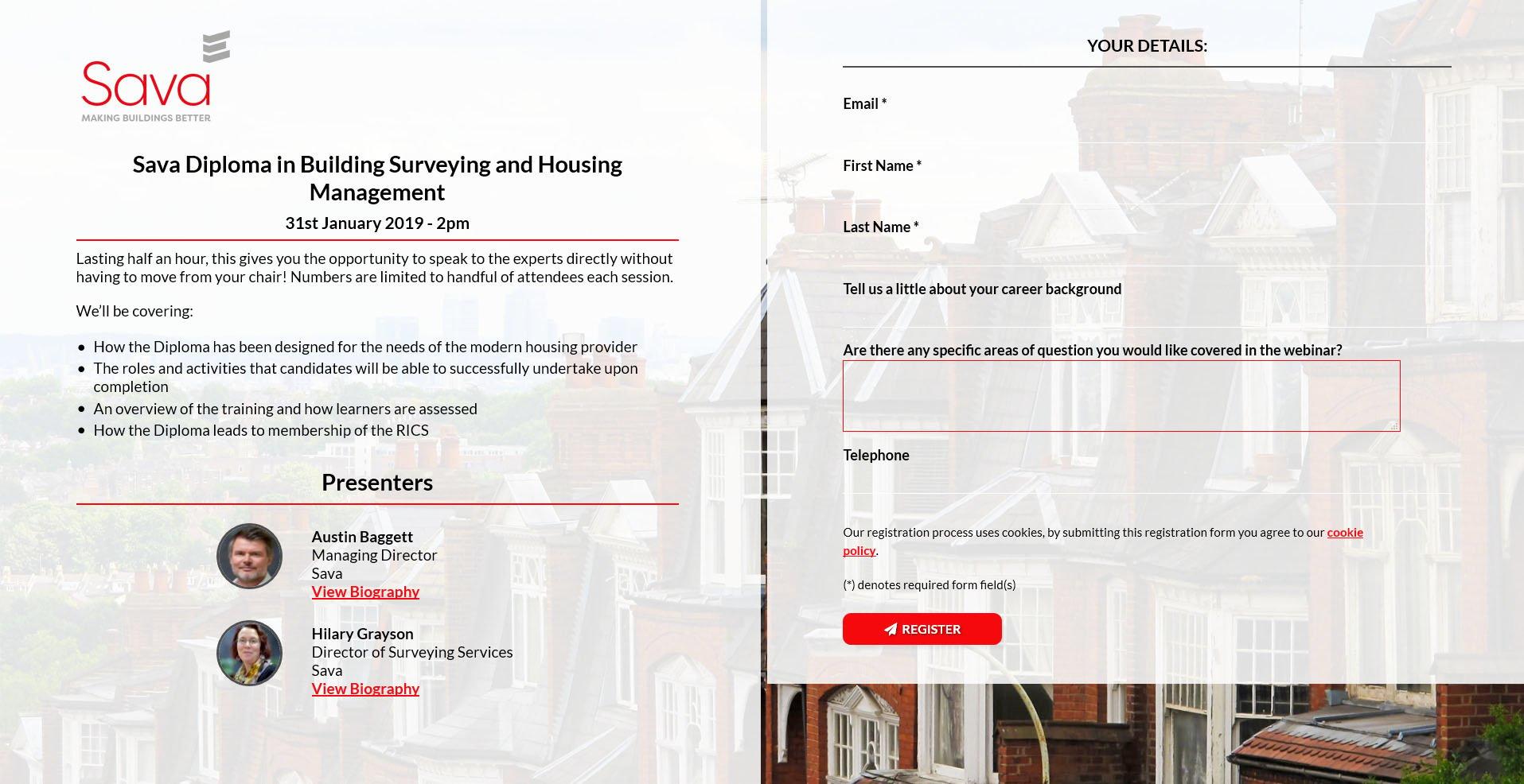 Webinar registration landing page