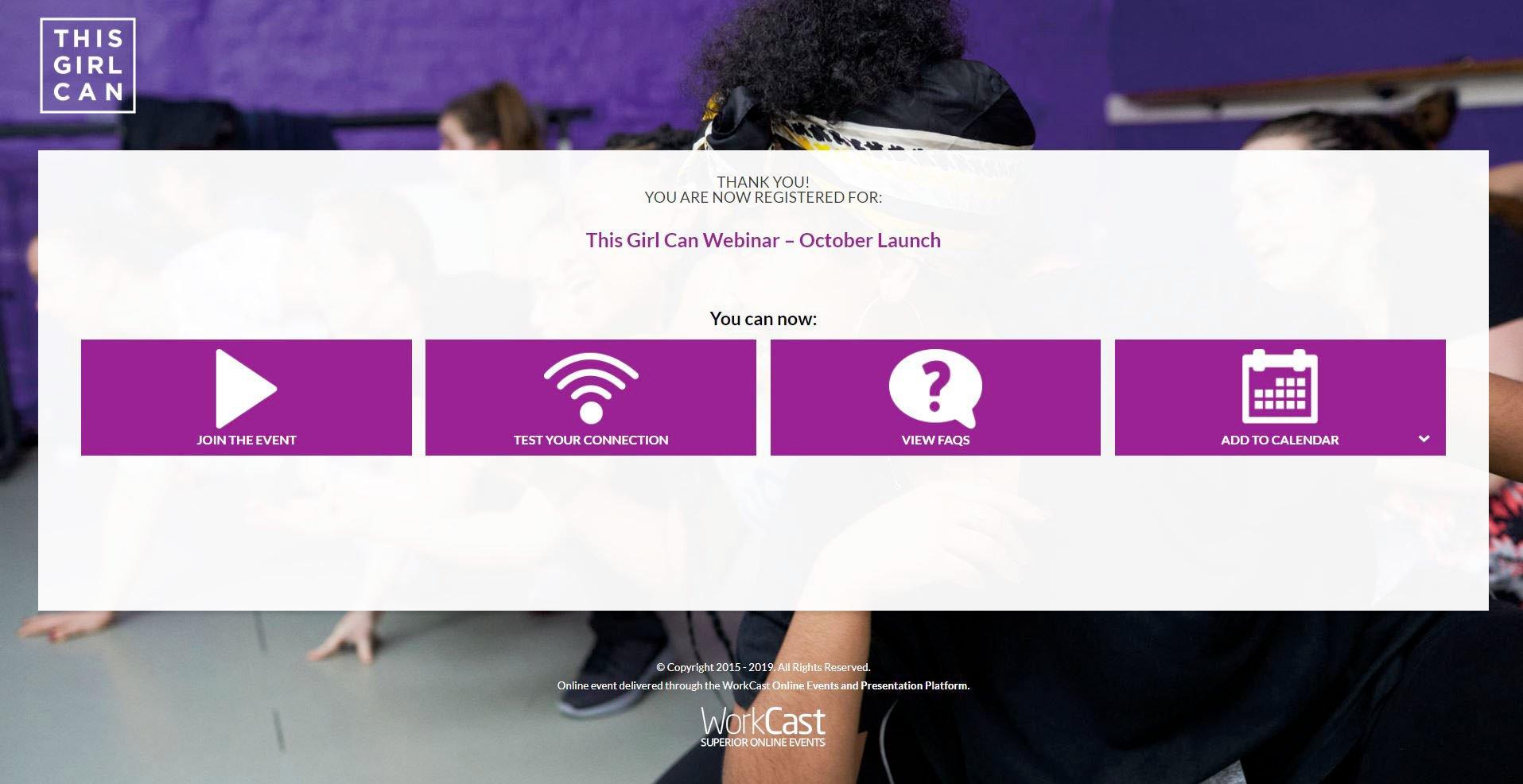 Webinar registration confirmation landing page