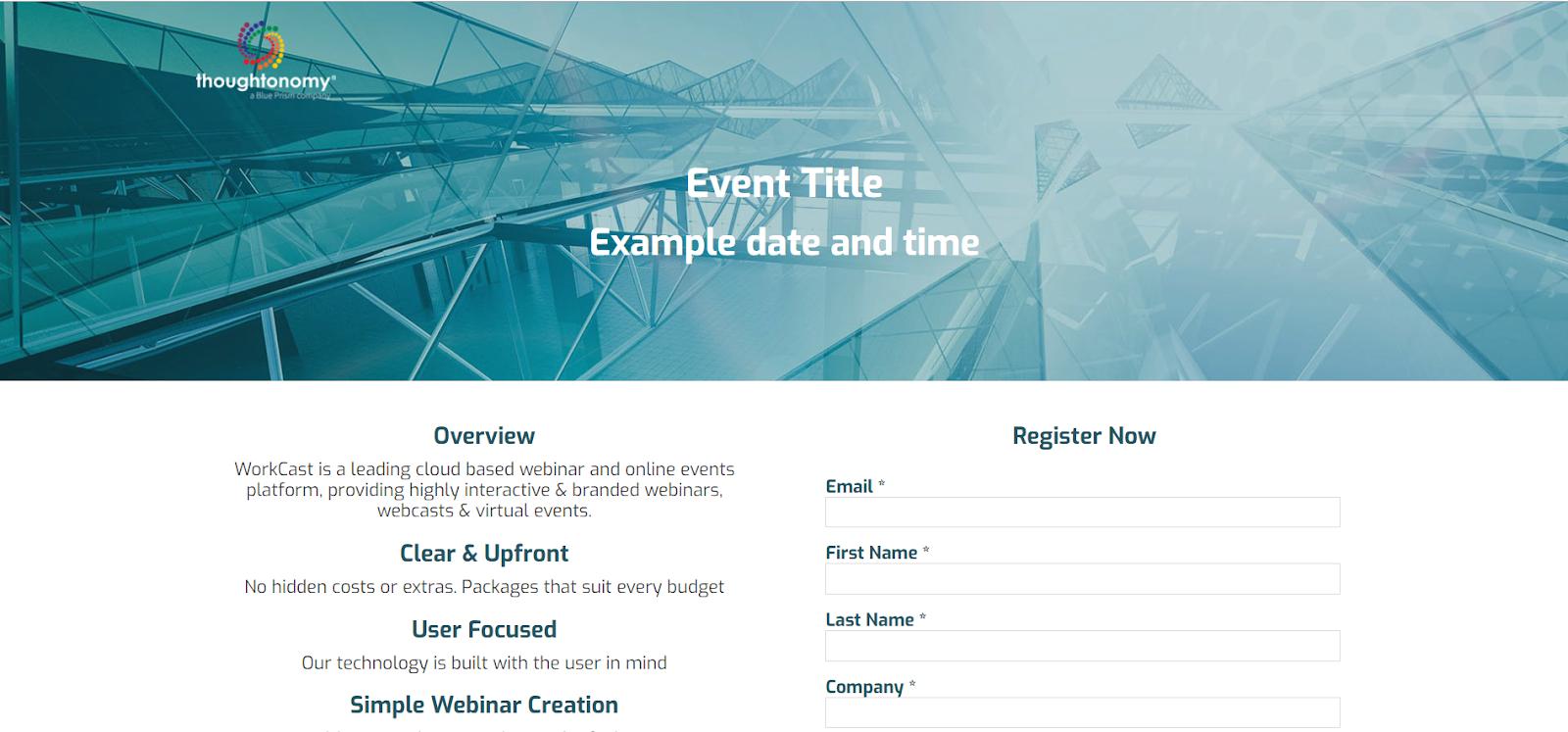 Best Webinar Design Example: thoughtonomy