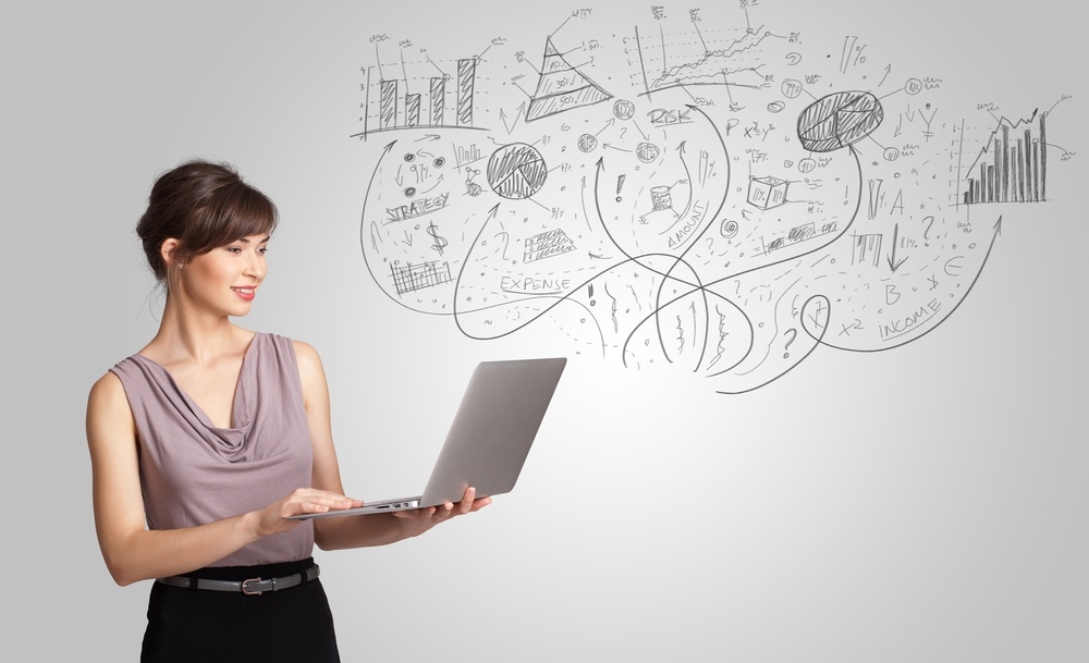 Woman presenting sketches from laptop